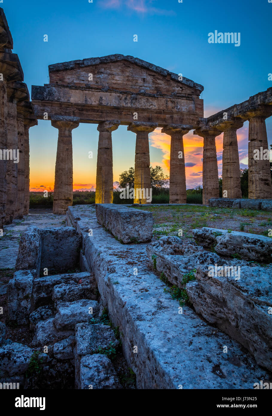 Paestum was a major ancient Greek city on the coast of the Tyrrhenian Sea in Magna Graecia (southern Italy). The - Stock Image