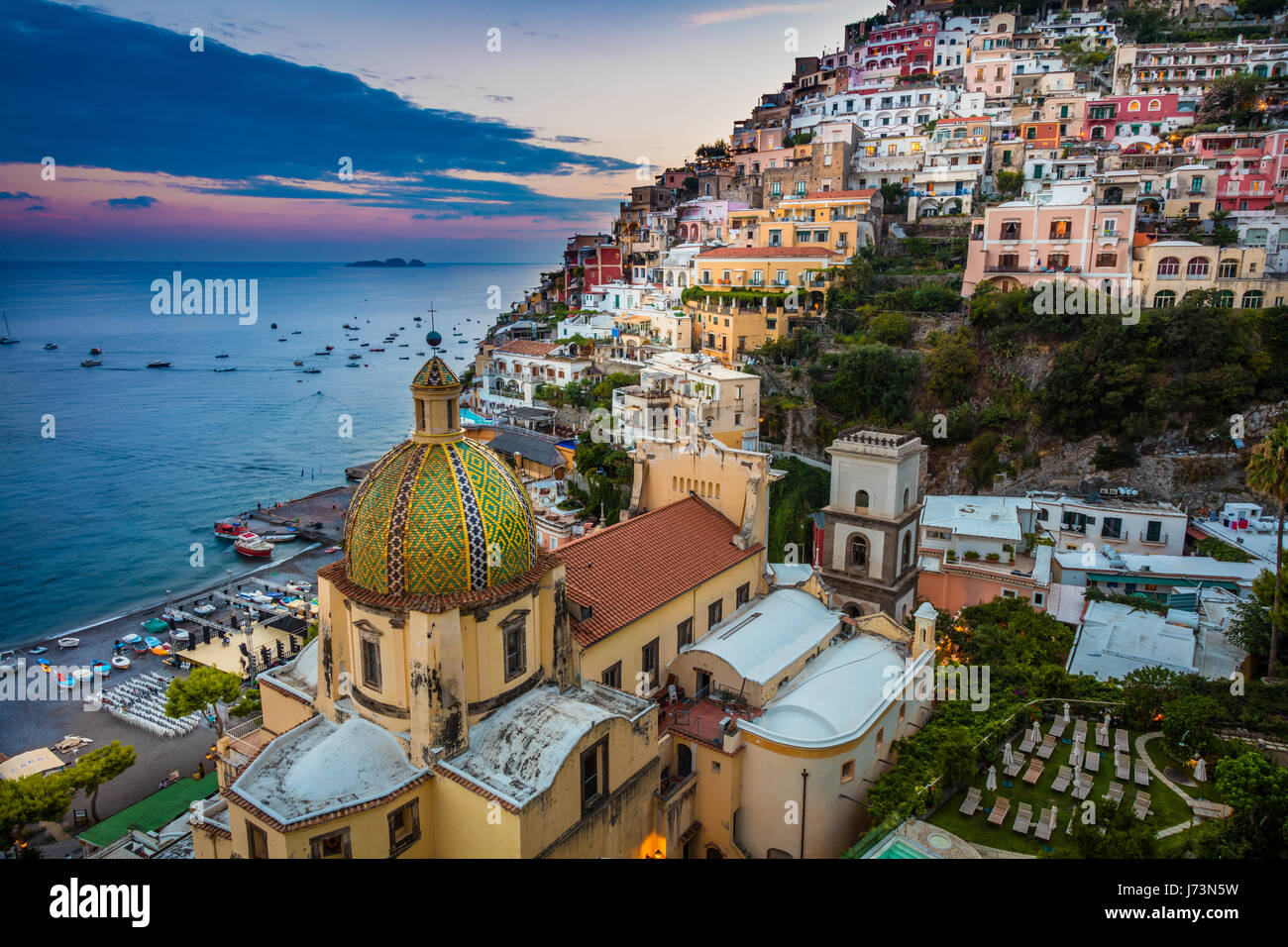 Positano is a village and comune on the Amalfi Coast (Costiera Amalfitana), in Campania, Italy, mainly in an enclave - Stock Image
