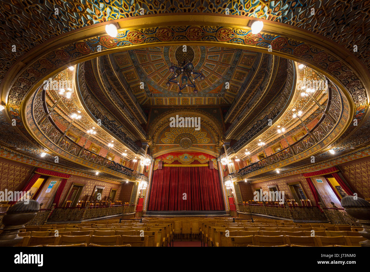 The Teatro Juarez is one of the most architectural stunning buildings in Guanajuato. - Stock Image