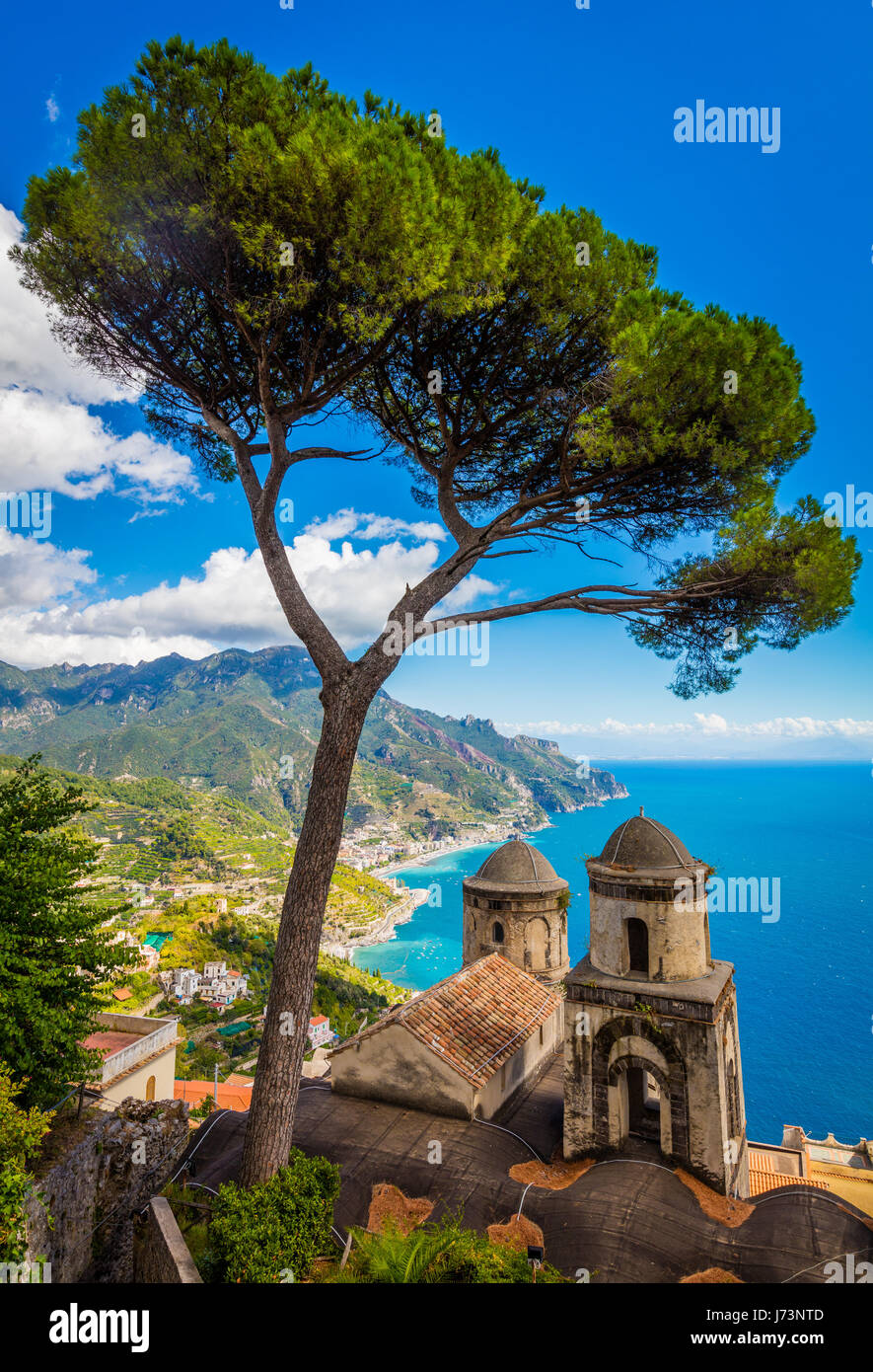 Villa Rufolo is a building within the historic center of Ravello, a town in the province of Salerno, Italy. - Stock Image