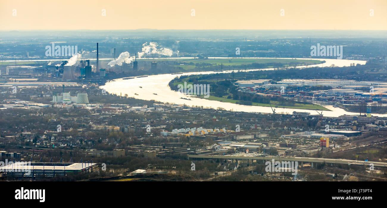 Rhine arched between Rheinhausen and Hüttenheim, Mülheim on the Ruhr, Ruhr area, North Rhine-Westphalia, - Stock Image