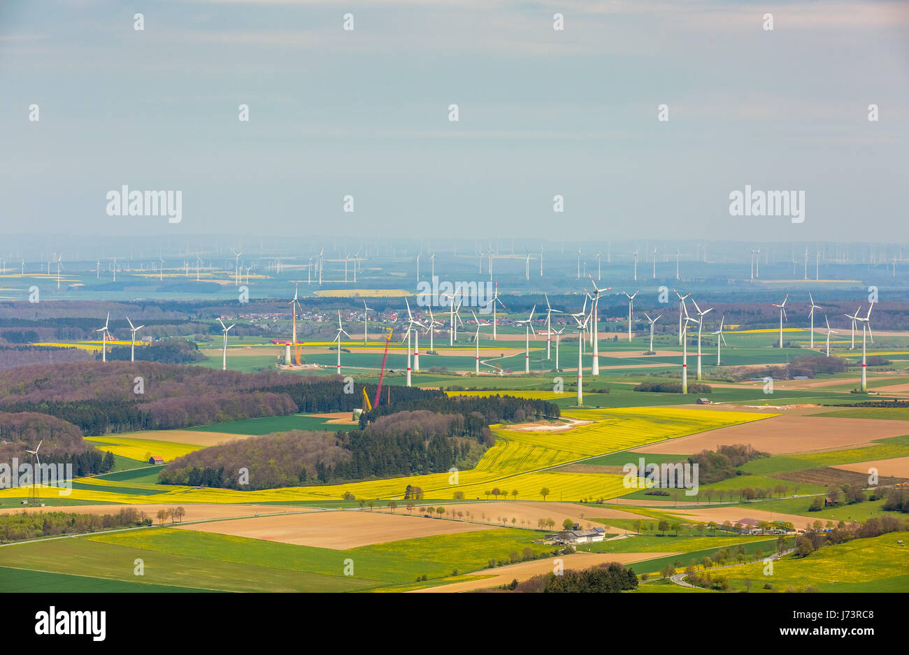 Wind power plants on the Paderborner plateau, Westfälische Bucht, wind farm, alternative energy, regenerative - Stock Image