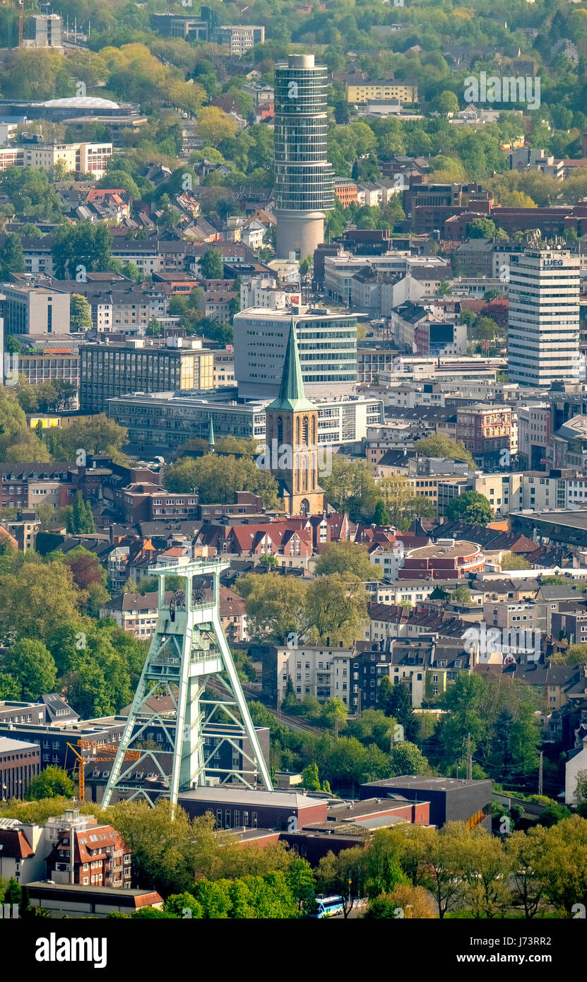 ÜOverview of Bochum with the funding tower of the Bergbaumuseum, the commune of St. Peter and St. Paul, eccentric - Stock Image