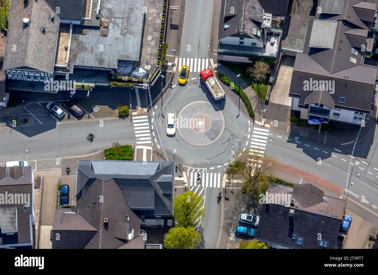Roundabout Strackestraße and Obere Mauer, Brilon, Sauerland, Hochsauerlandkreis, North Rhine-Westphalia, Germany,Kreisverkehr - Stock Image