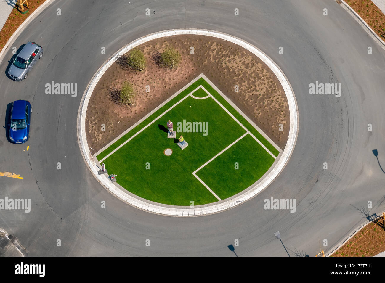 Hrubesch monument is located in the traffic island island in the Pelkumer roundabout, football legend Horst Hrubesch, - Stock Image