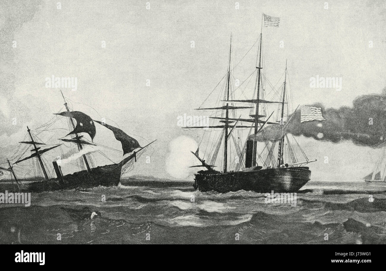 The Battle of the USS Kearsage and the CSS Alabama off the coast of Cherbourg, France, June 19, 1864 during the - Stock Image