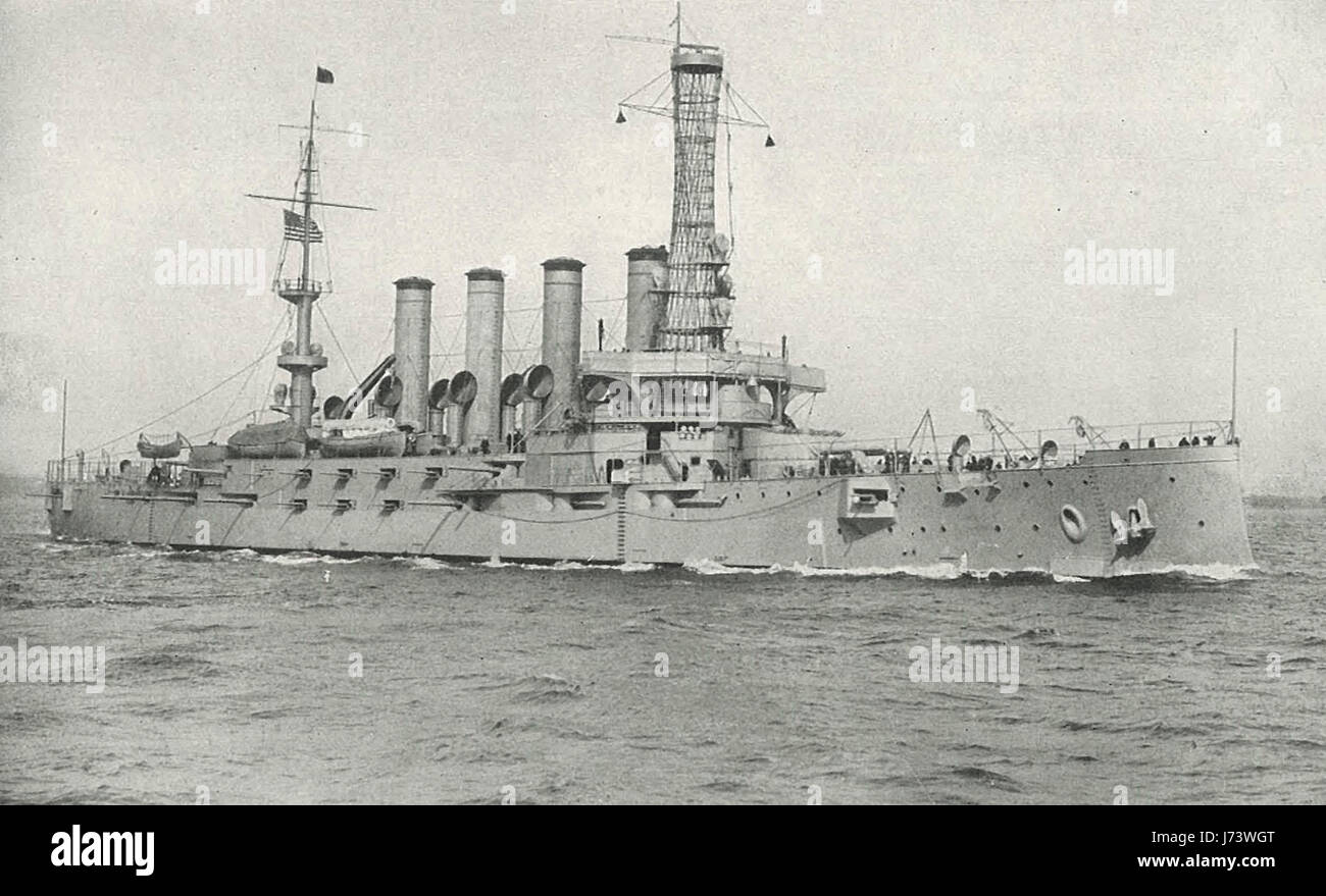 The Armored Cruiser North Carolina with a battery of four 10 inch guns and sixteen six inch guns, circa 1912 - Stock Image