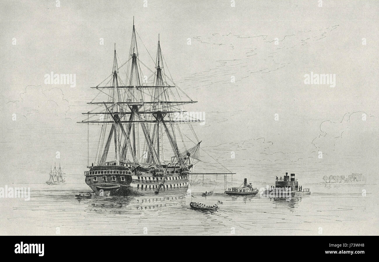 The Ship of the Line Vermont and the Monitor Weehawken during the American Civil War Stock Photo