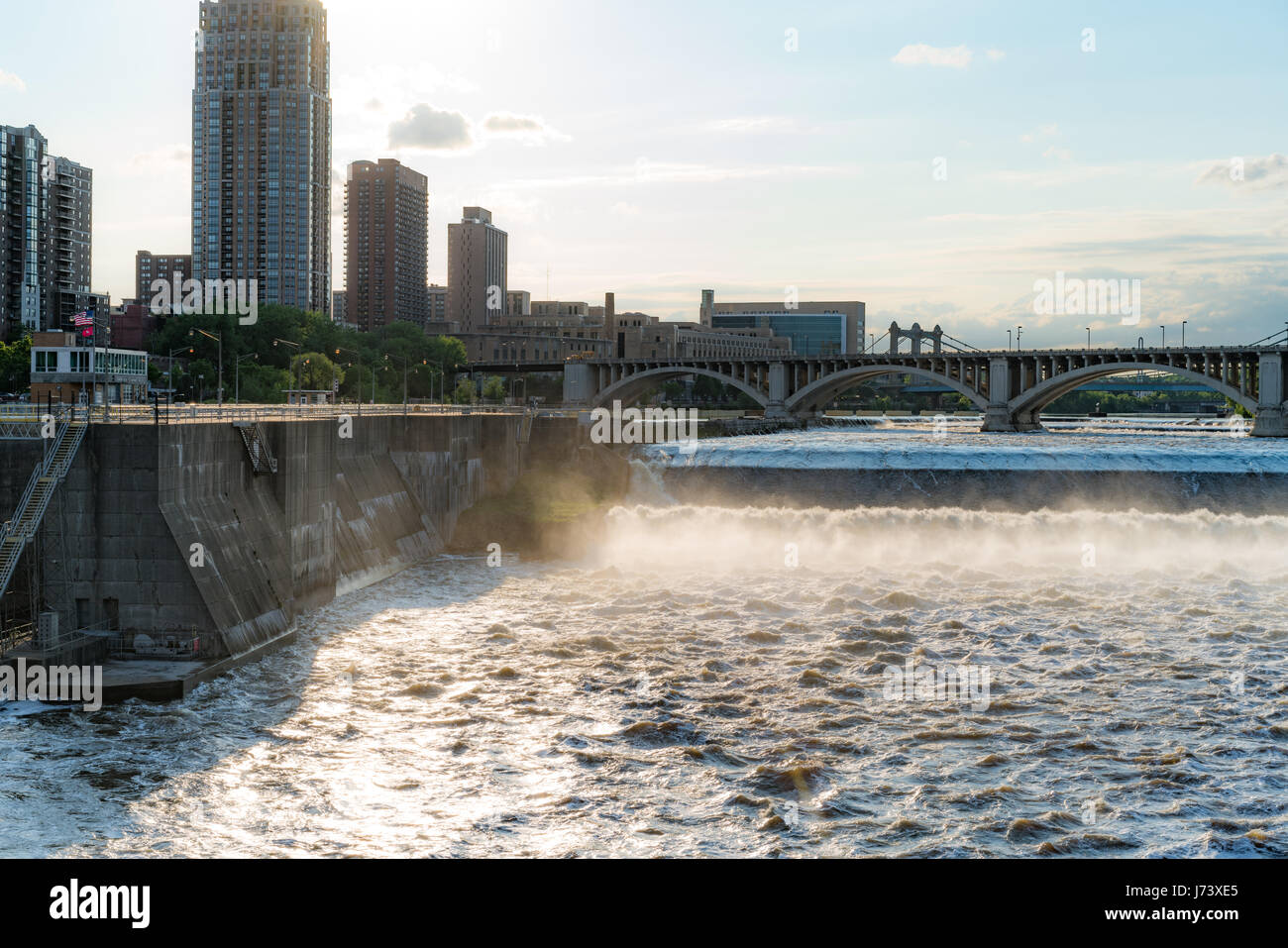 Seen from the Stone Arch Bridge in Minneapolis - Stock Image