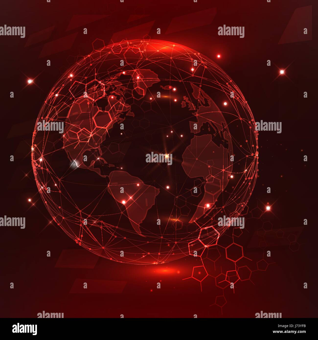 Global network connection, abstraction illustration - Stock Vector