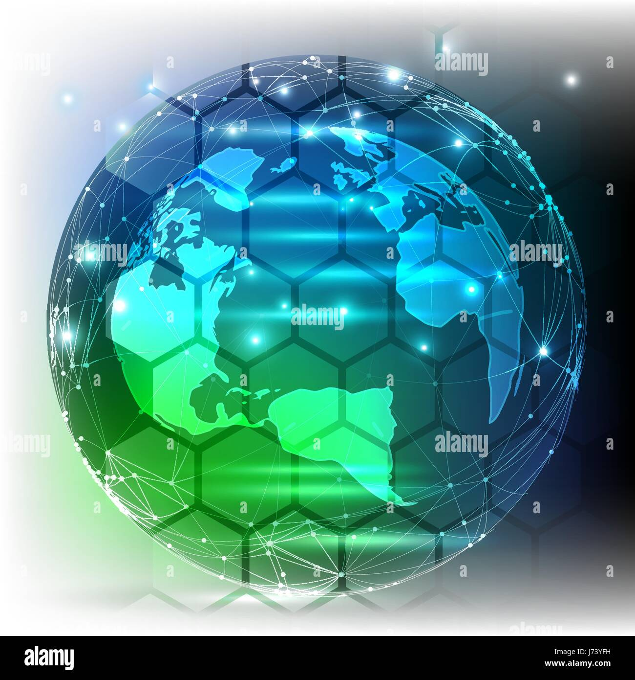 Global network connection - planet Earth - Stock Vector