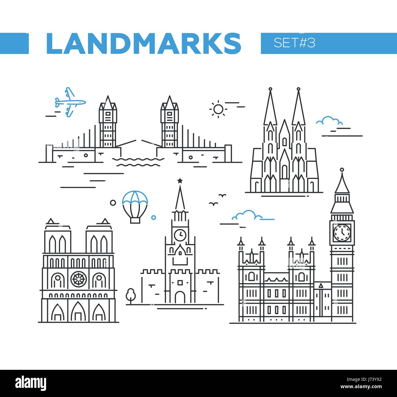 World Famous Landmarks - line design icons set - Stock Image