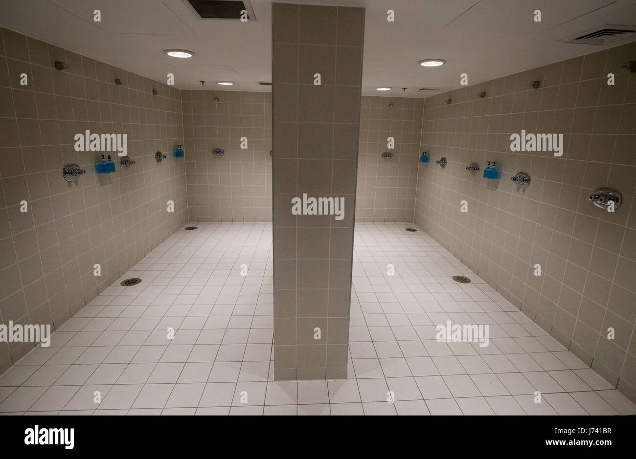 A general view of the showers inside the changing rooms at Wembley ...