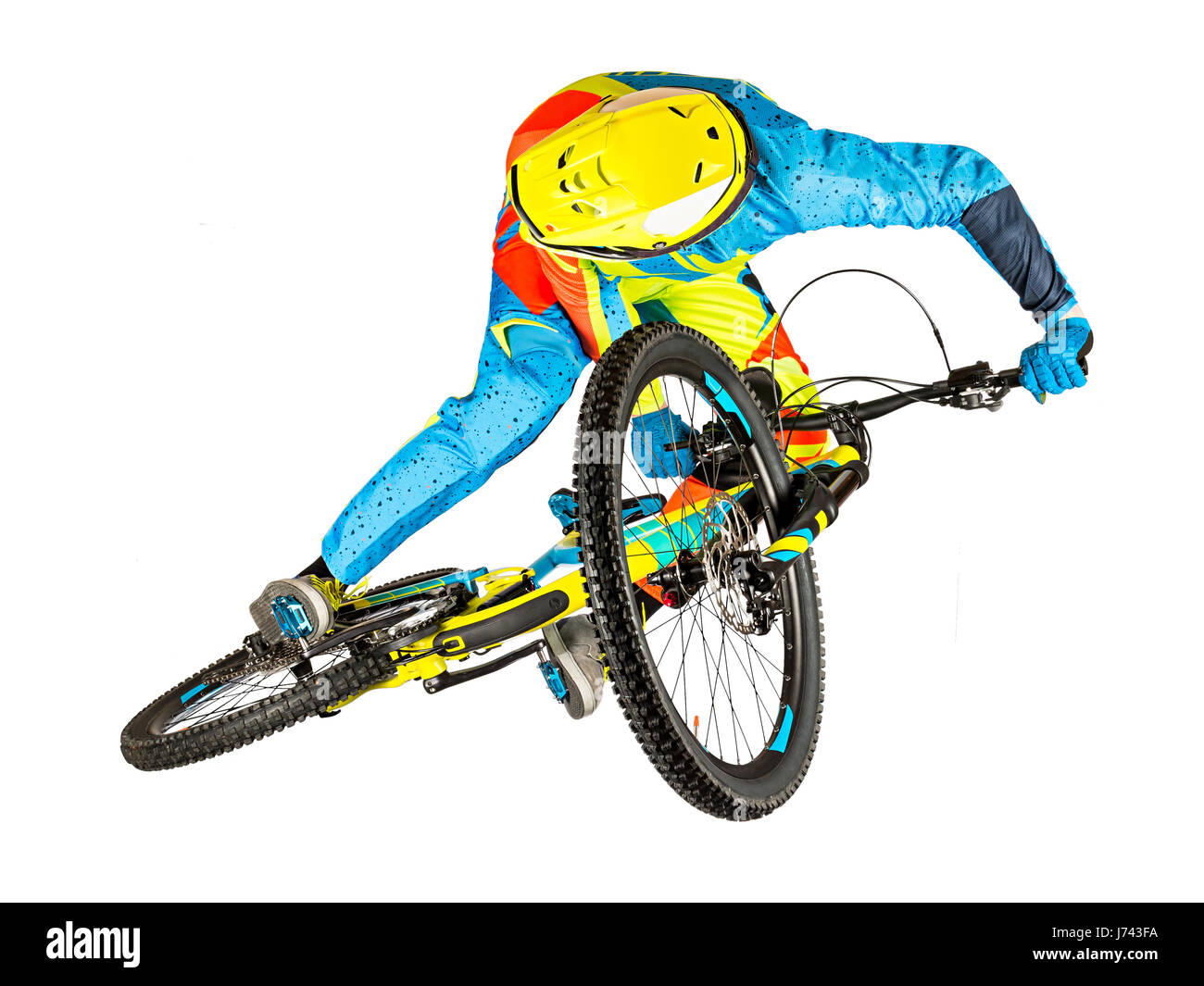 e0a837c18c8 mountain bike freeride downhill rider extreme whip jump isolated on white  background - Stock Image