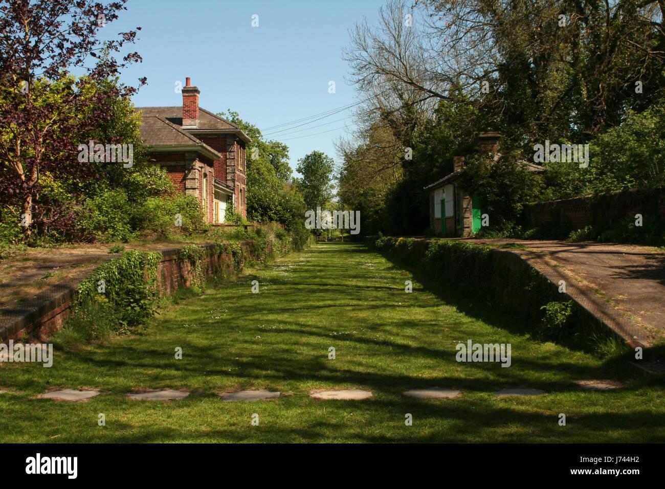 Disused railway station Stock Photo