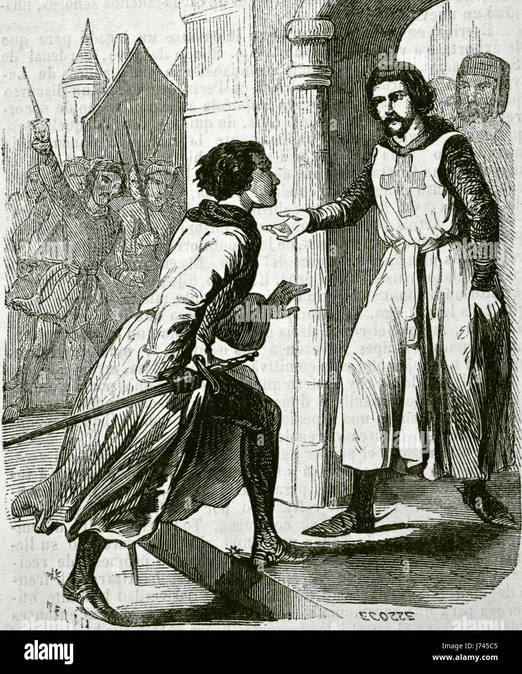 Philip IV the Fair (1268-1314), King of France and Navarre by his marriage to Joan  I of Navarre in 1284, takes - Stock Image
