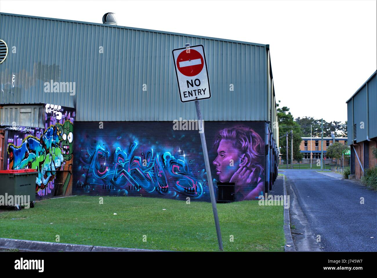 No Entry sign in front of a Graffiti by unknown artist. Graffito. Graffiti on a wall, building, grass, back alley, - Stock Image