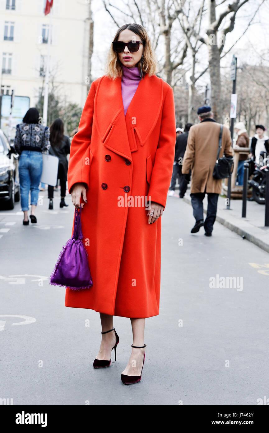 Candela Pelizza outside Paco Rabanne, Paris Fashion Week RTW 2017-2018, Paris, France - Stock Image