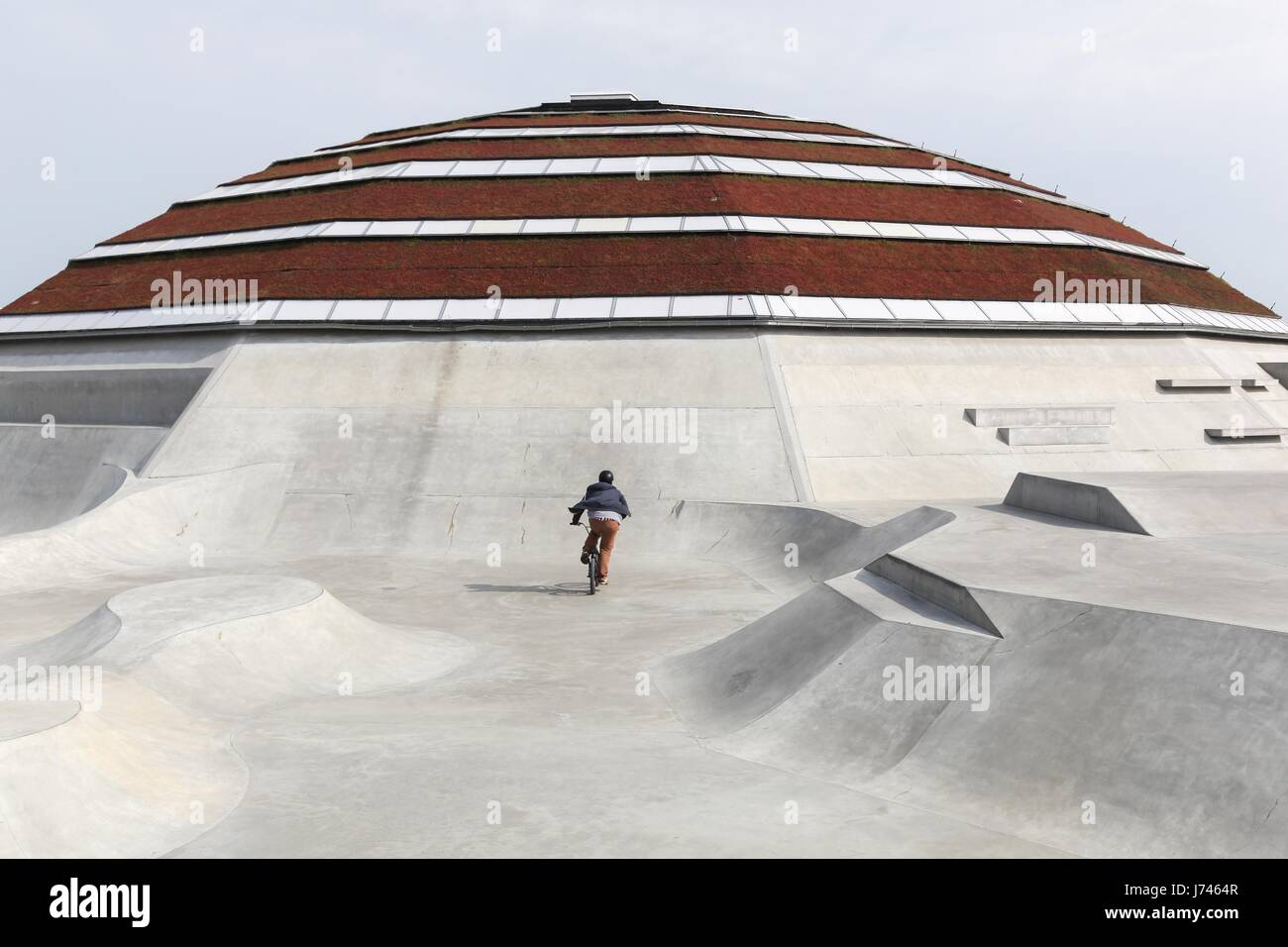 Haderslev, Denmark - May 29, 2016: StreetDome building is a unique world class skatepark and street sport facility - Stock Image
