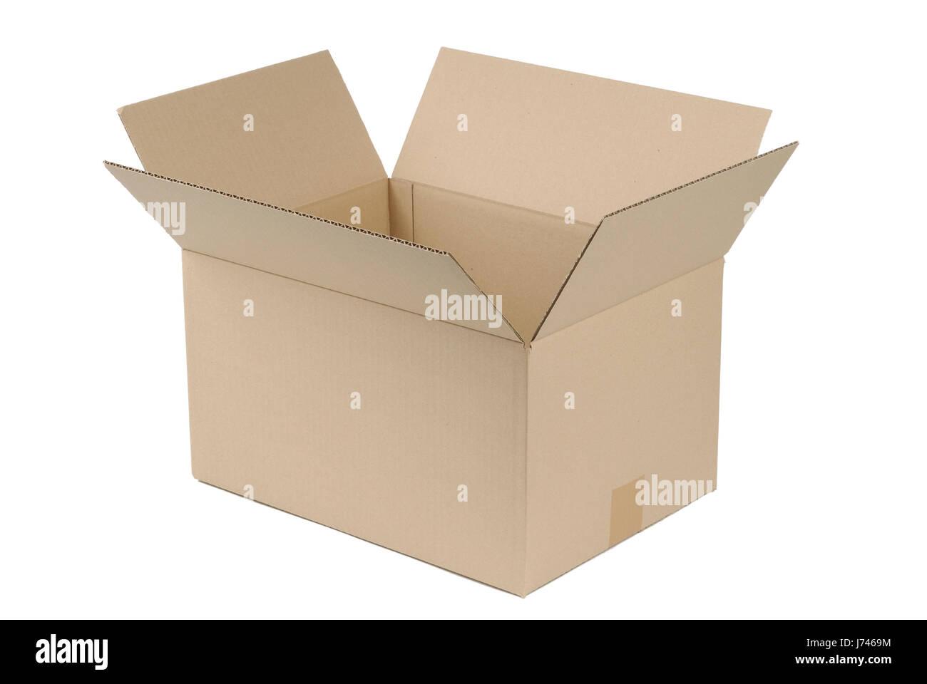 cardboard box on white background - Stock Image