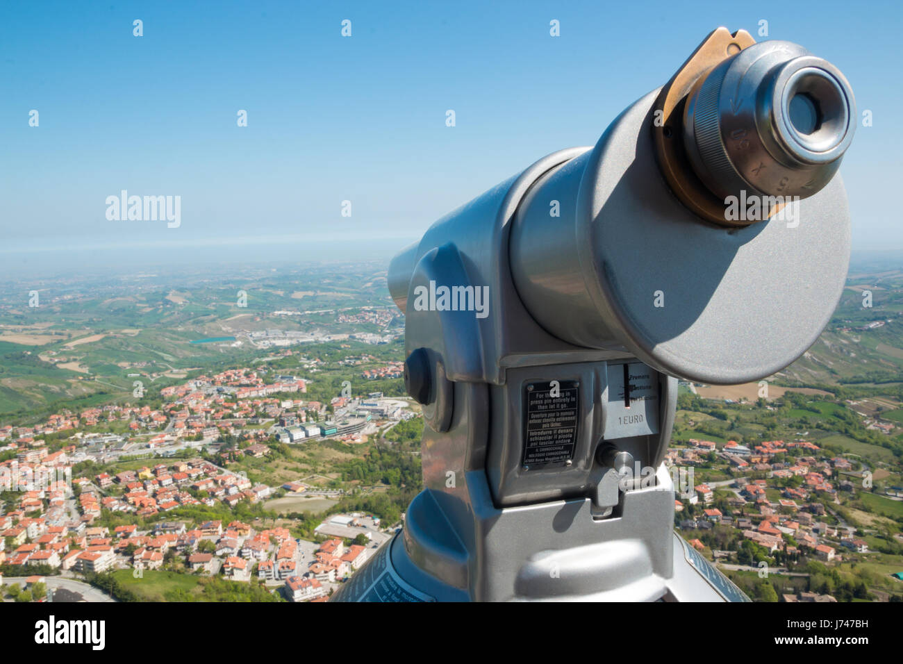 View from San Marino fortress on Adriatic Coast, Italy - Stock Image