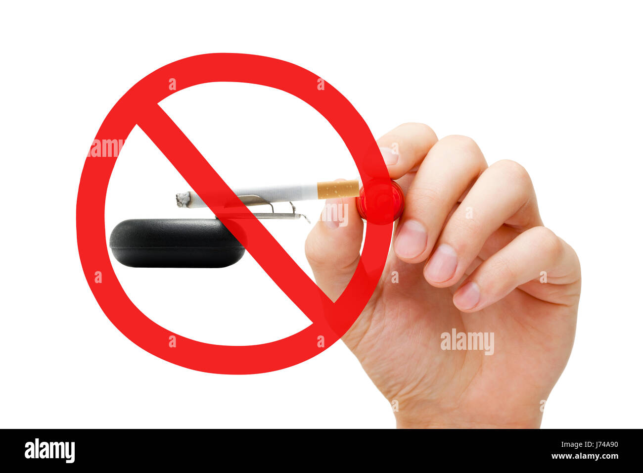 Hand drawing No Smoking prohibition sign concept on ashtray and lighted cigarette. Stock Photo