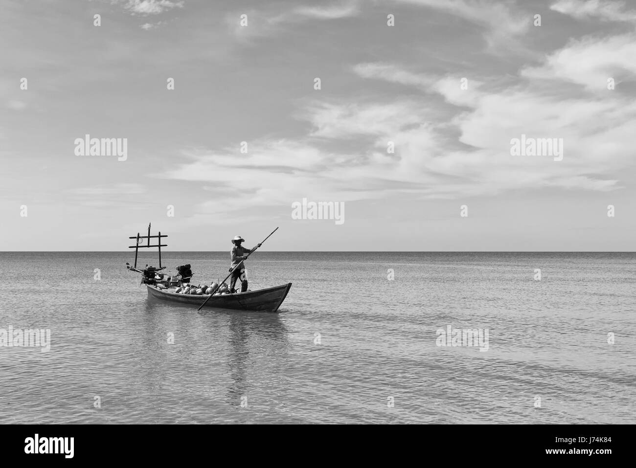 Boat with coconuts - Stock Image