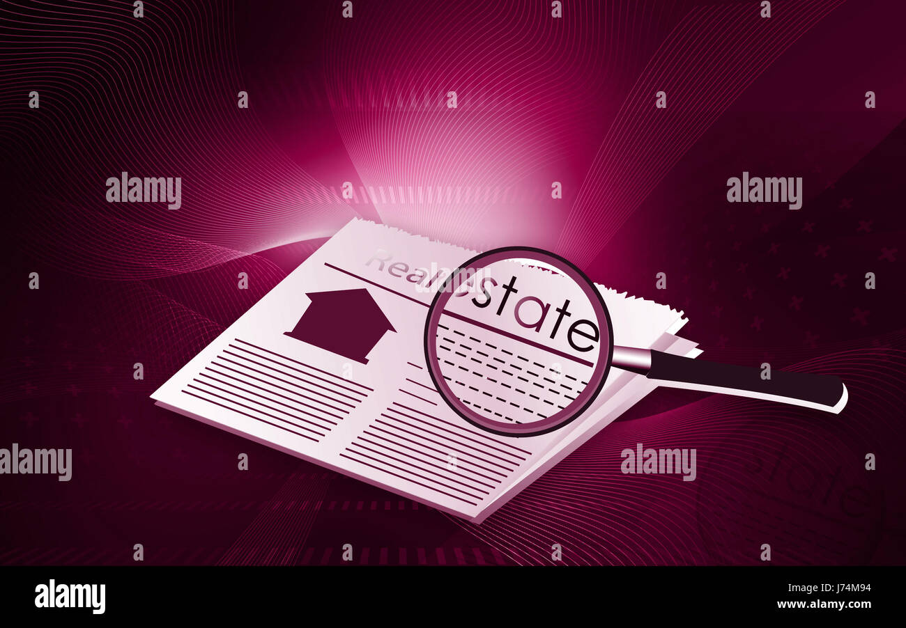 newspaper journal magnifier illustration news abstract residence daily - Stock Image