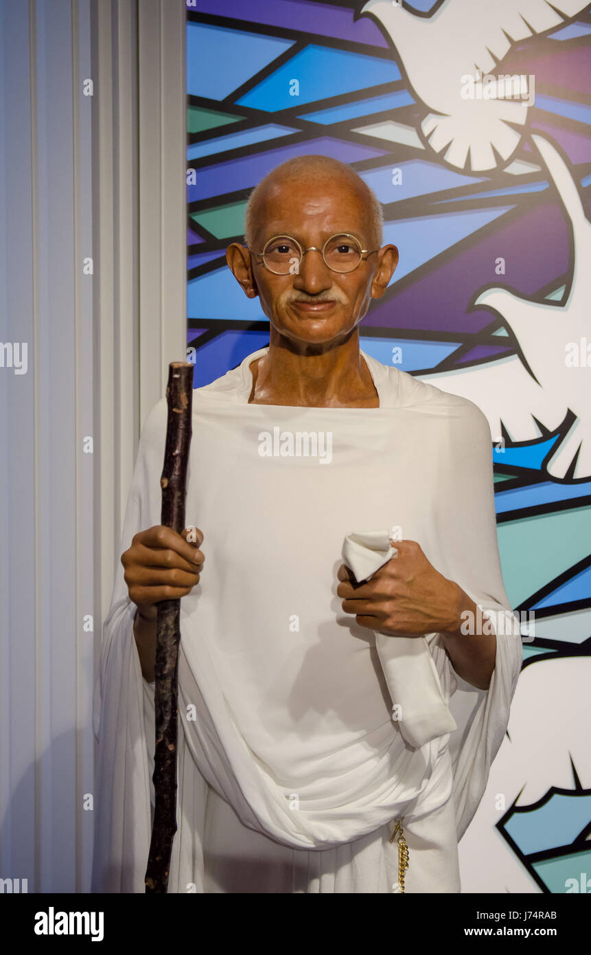 Singapore - September 15,2015 : The wax figure of Mahatma Gandhi in Madame Tussauds Singapore. - Stock Image