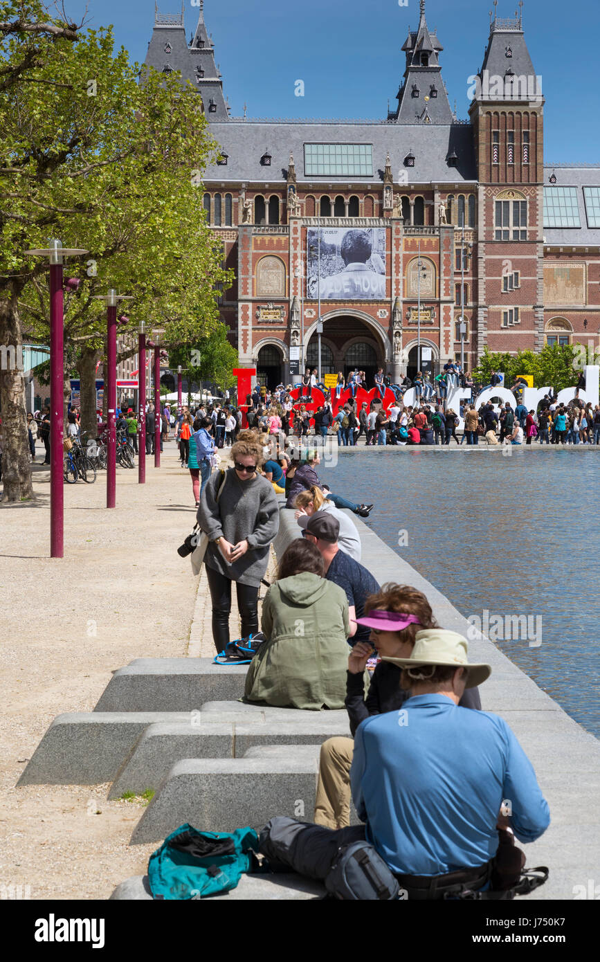 AMSTERDAM, NETHERLANDS - MAY, 15, 2017: A presentation, a slogan, a welcome phrase, a visual icon ... I amsterdam - Stock Image