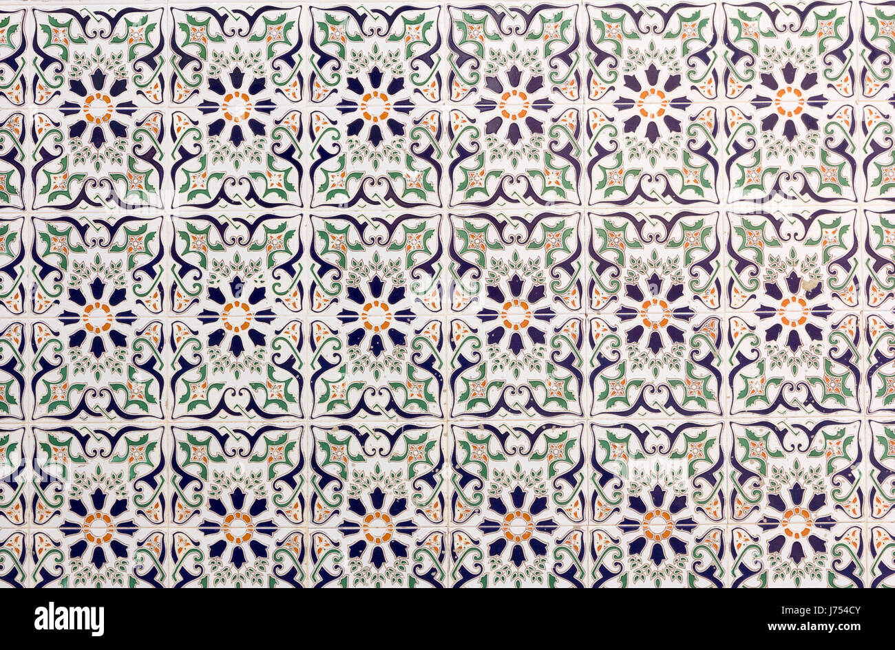 Spanish ceramic tiles on a wall in Spain Stock Photo