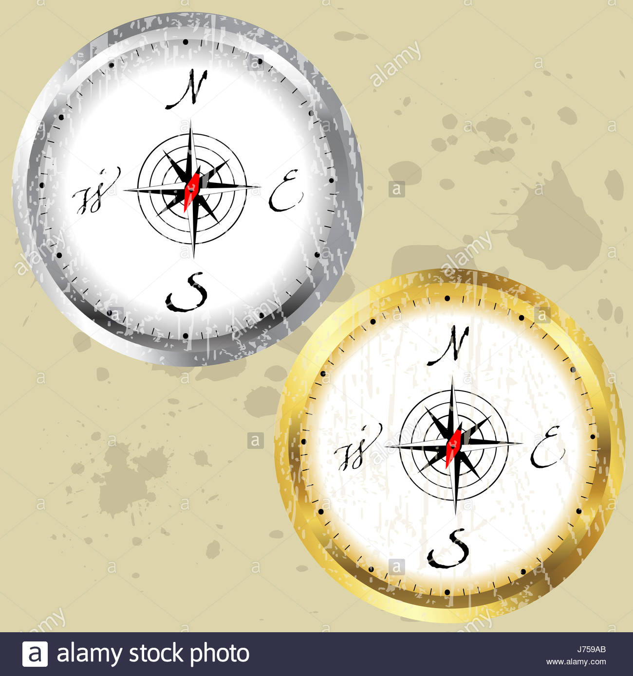 direction old arrow cartography compass circle graphic navigation illustration - Stock Image