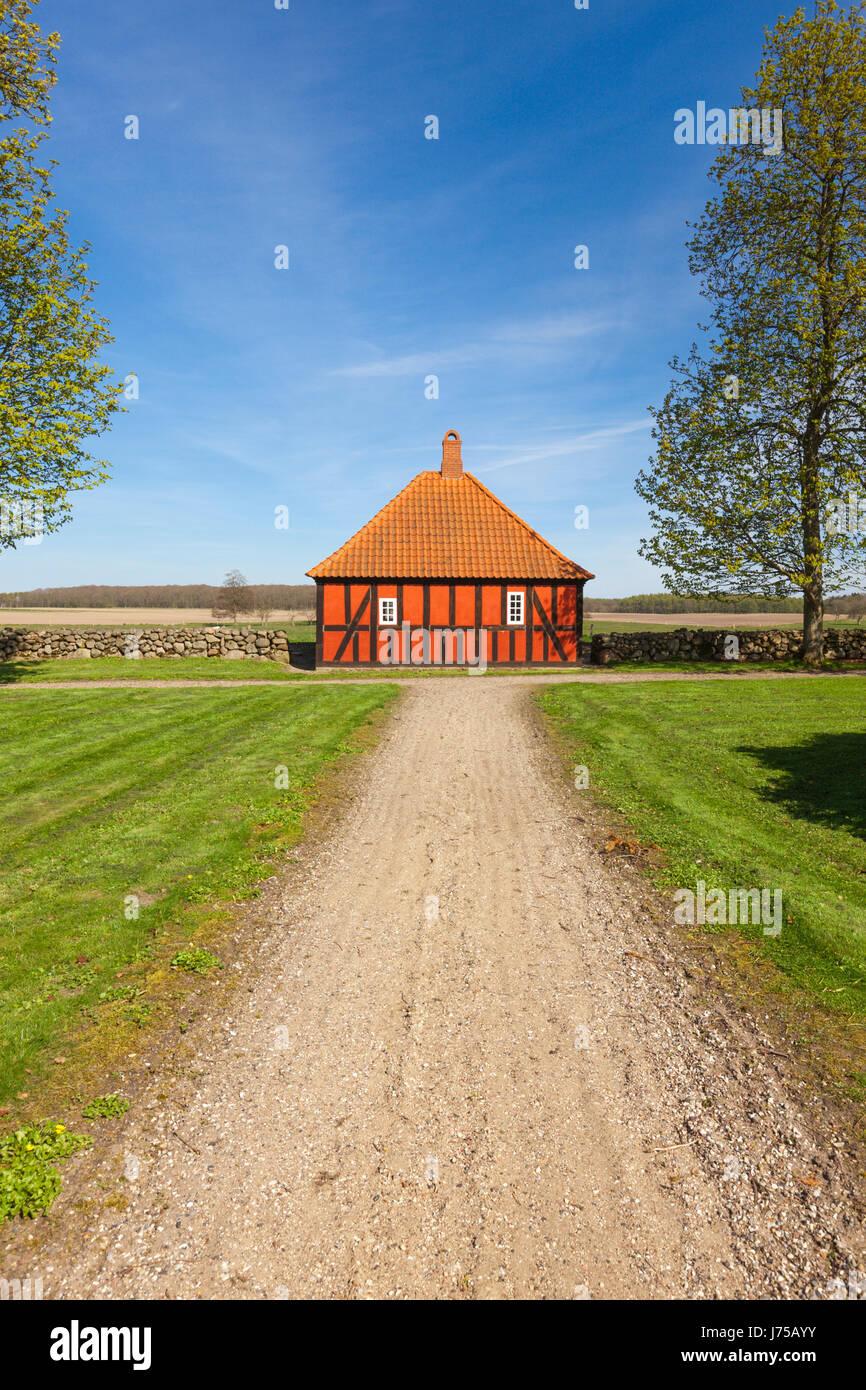 Servants' quarter at the estate of Lovenholm castle, a former monastery, near Randers, Denmark - Stock Image