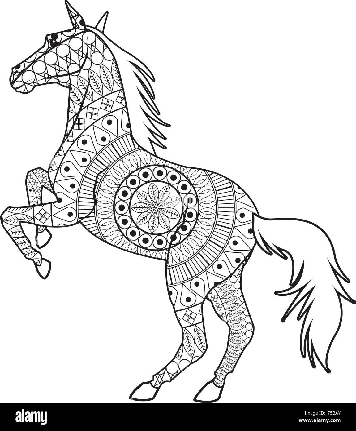 horse on two legs  mandala decoration animal image stock