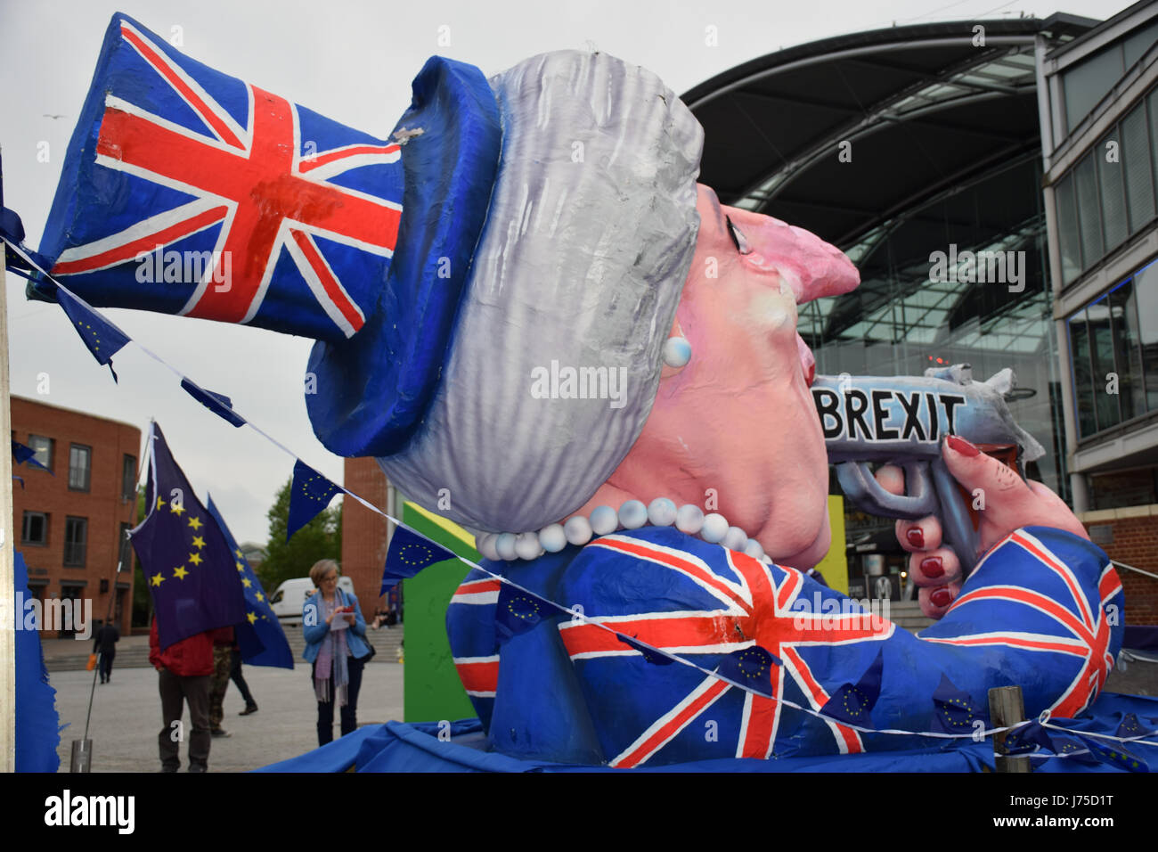 Anti-Brexit protest outside The Forum in Norwich with Theresa May float. 18 May 2017 UK - Stock Image