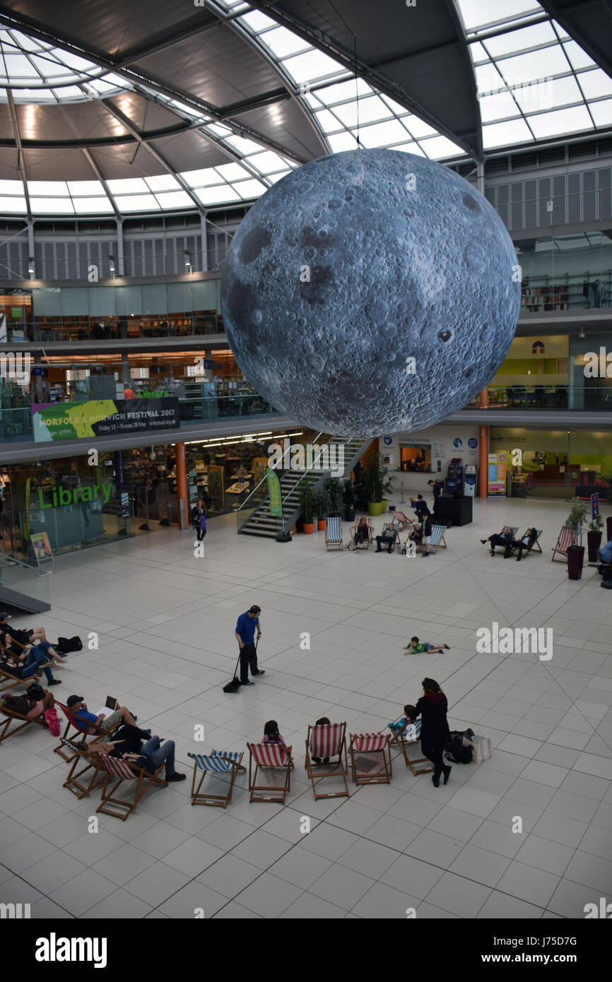 Museum of the Moon, a giant inflatable featuring detailed NASA imagery of the lunar surface, at The Forum as part - Stock Image