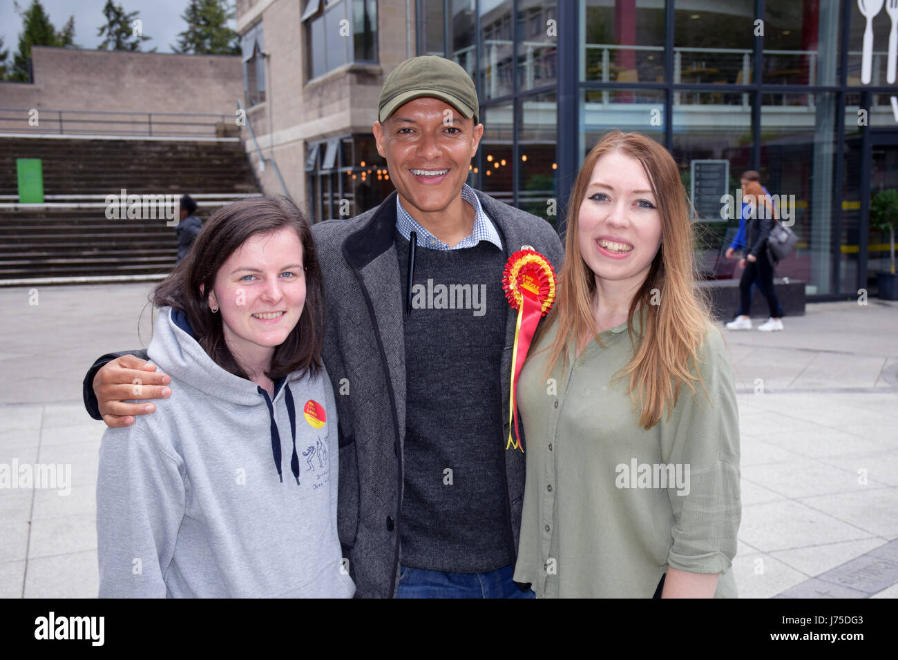 Clive Lewis MP with University of East Anglia students during his General Election re-election campaign.  He was - Stock Image