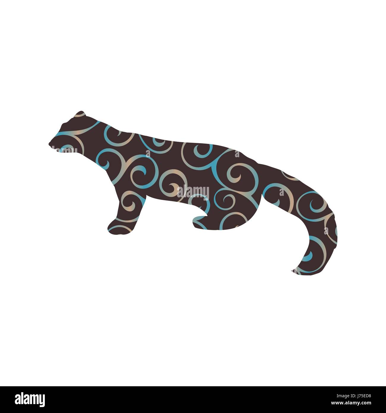 Marten wildlife color silhouette animal - Stock Vector
