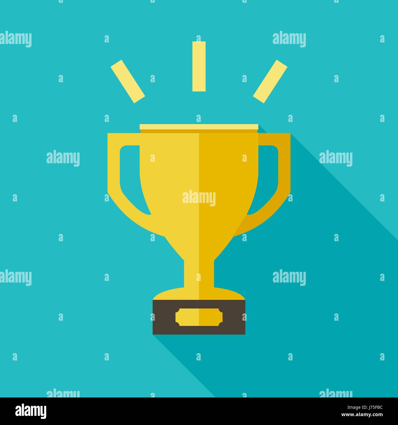 Golden cup flat icon - Stock Image