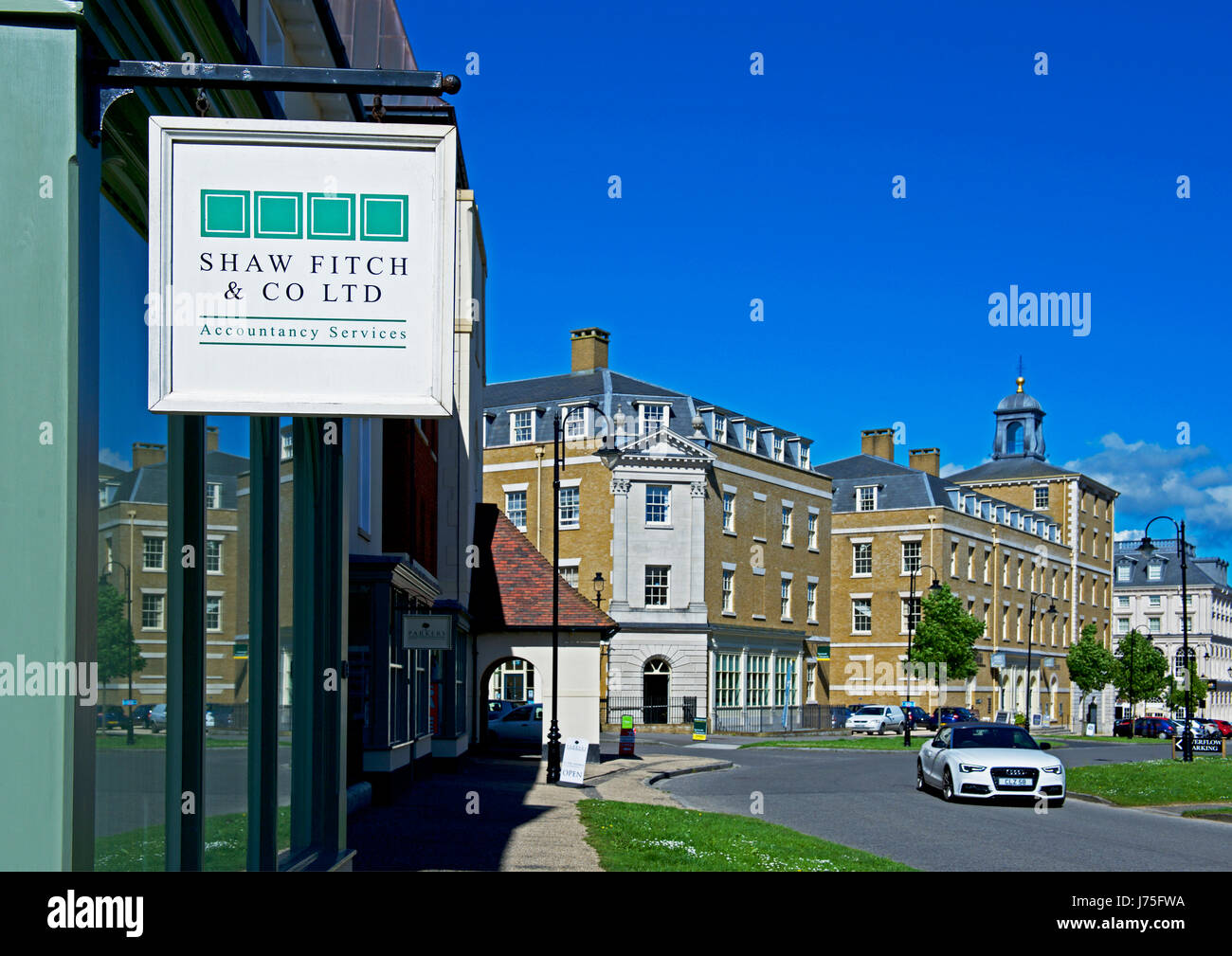Sign for accountants, Poundbury, near Dorchester, Dorset, England UK - Stock Image