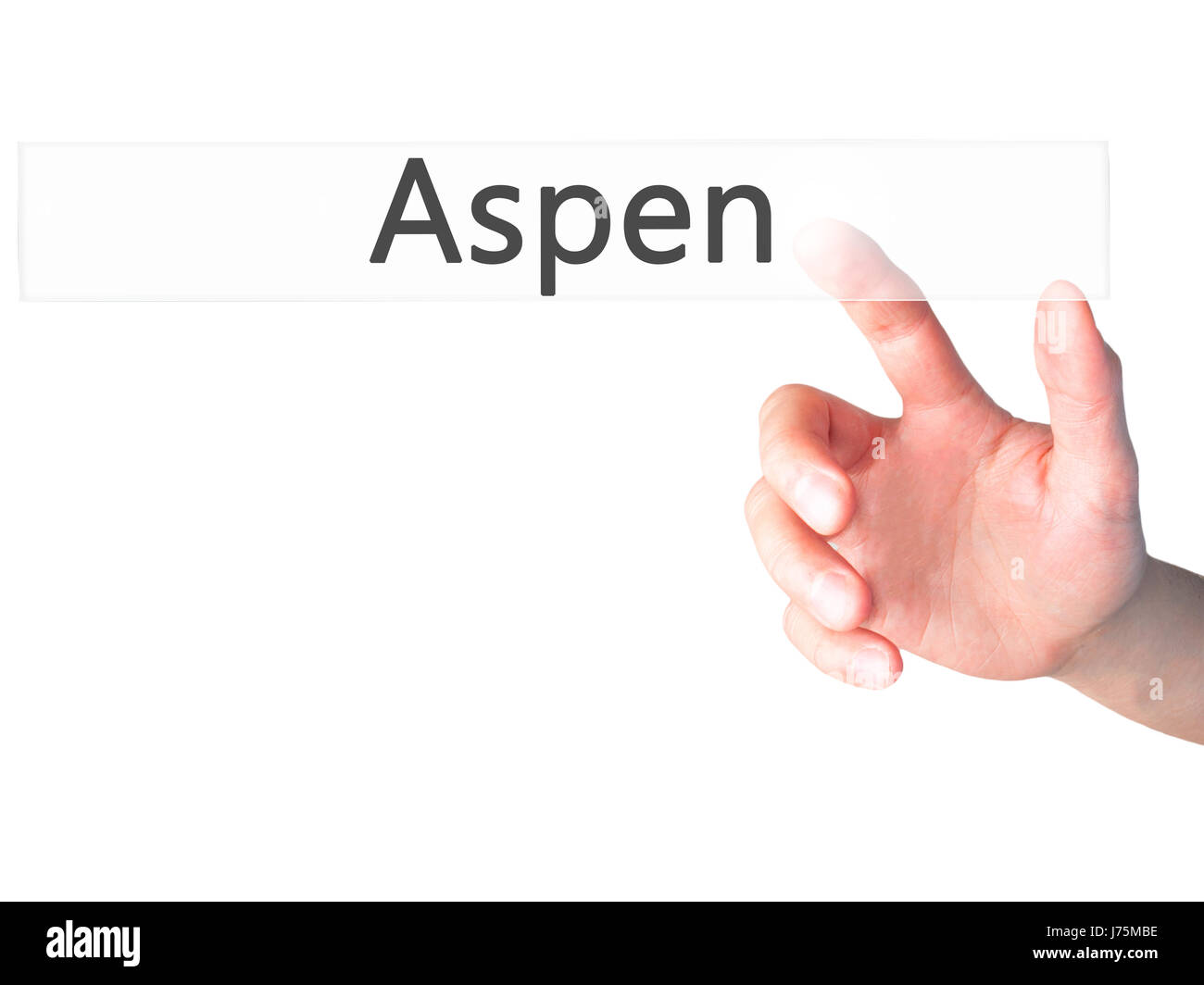 Aspen - Hand pressing a button on blurred background concept . Business, technology, internet concept. Stock Photo - Stock Image