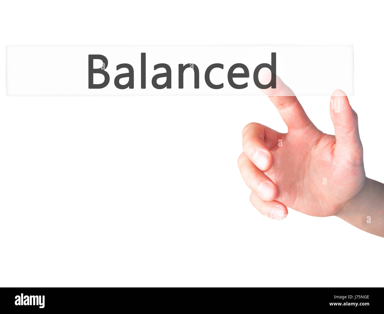 Balanced - Hand pressing a button on blurred background concept . Business, technology, internet concept. Stock - Stock Image