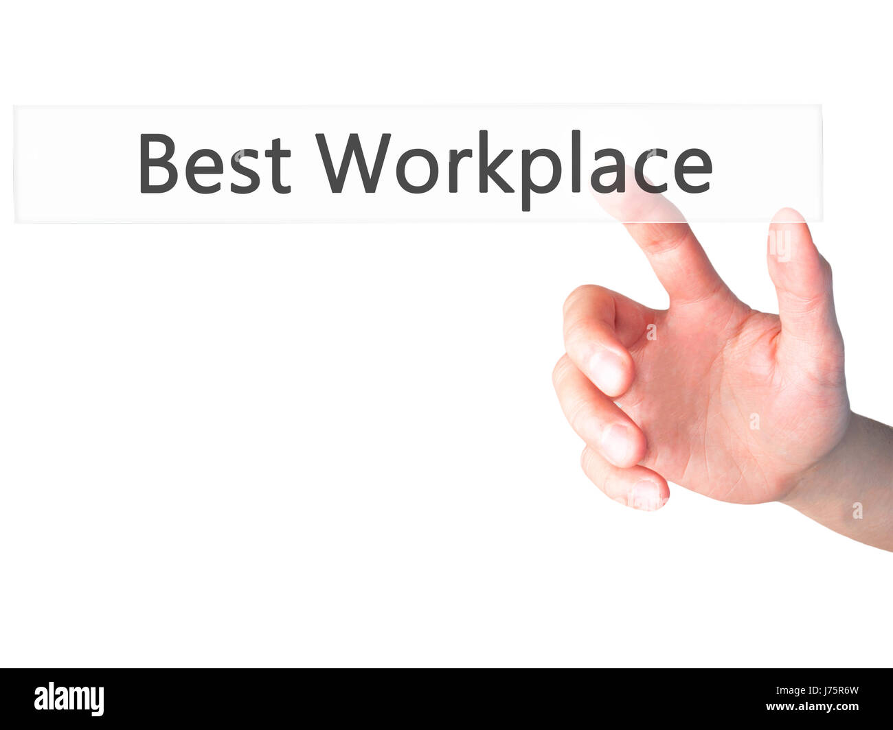 Best Workplace - Hand pressing a button on blurred background concept . Business, technology, internet concept. - Stock Image