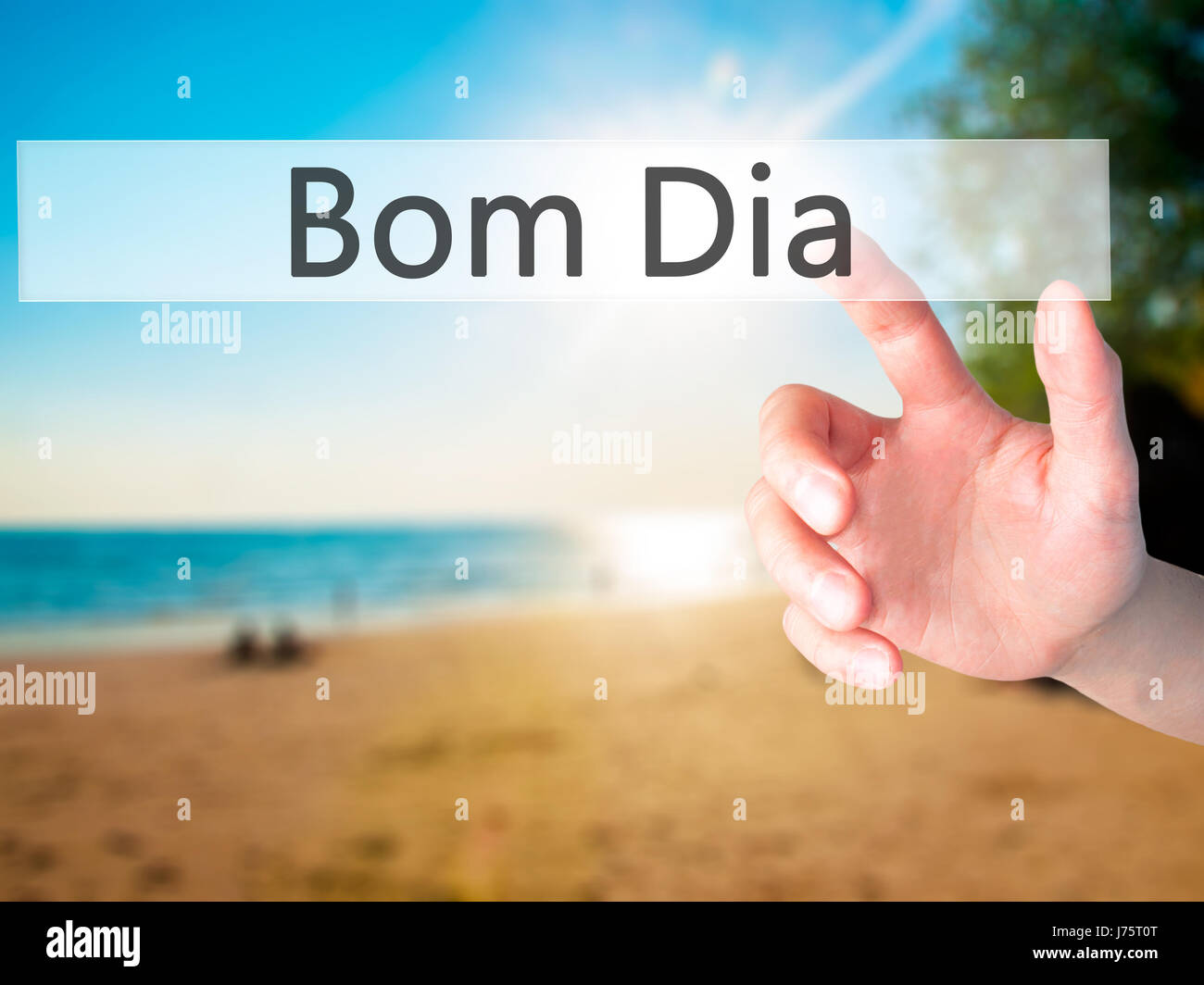 Bom Dia In Portuguese Good Morning Hand Pressing A Button On