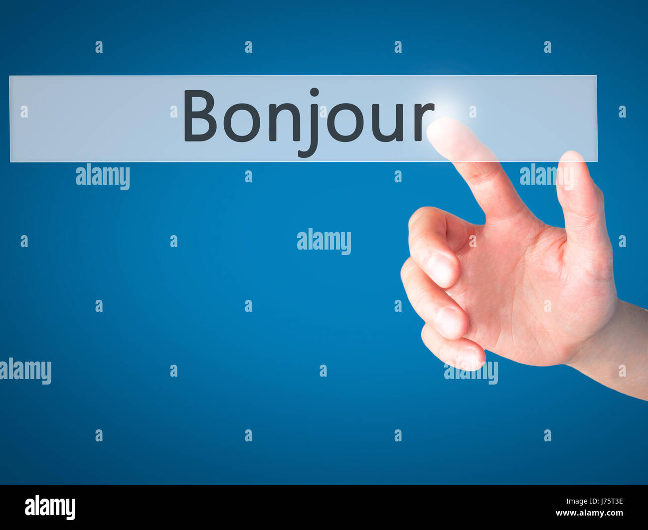 Bonjour Good Morning In French Hand Pressing A Button On Blurred