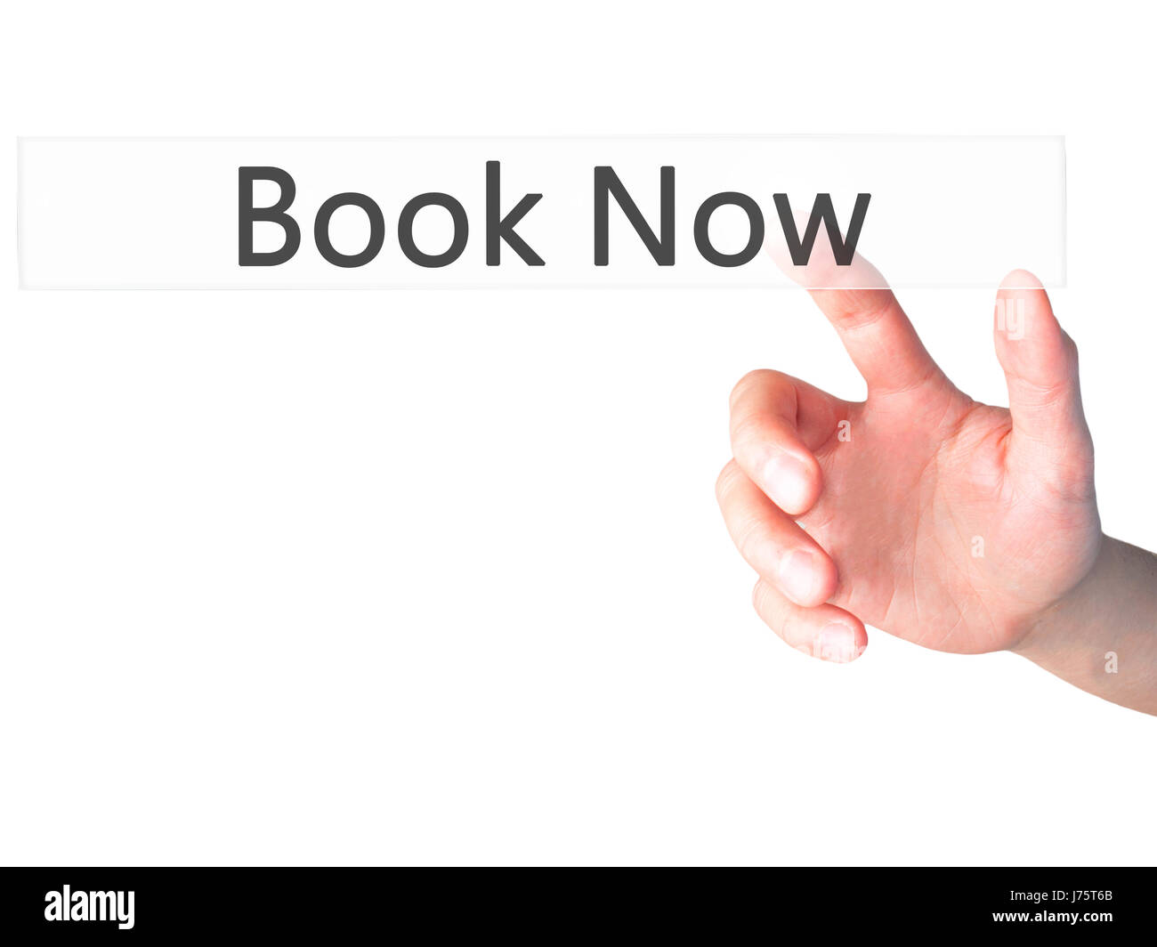 Book Now - Hand pressing a button on blurred background concept . Business, technology, internet concept. Stock - Stock Image