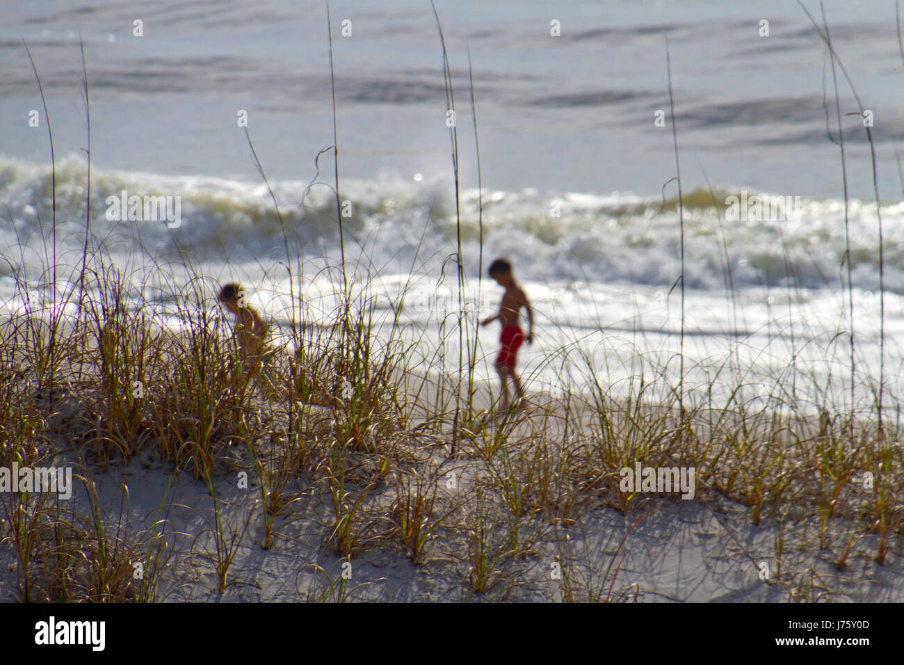 Silhouettes of two young boys in swimsuits exploring the beach with large waves behind them and beach dune grass - Stock Image