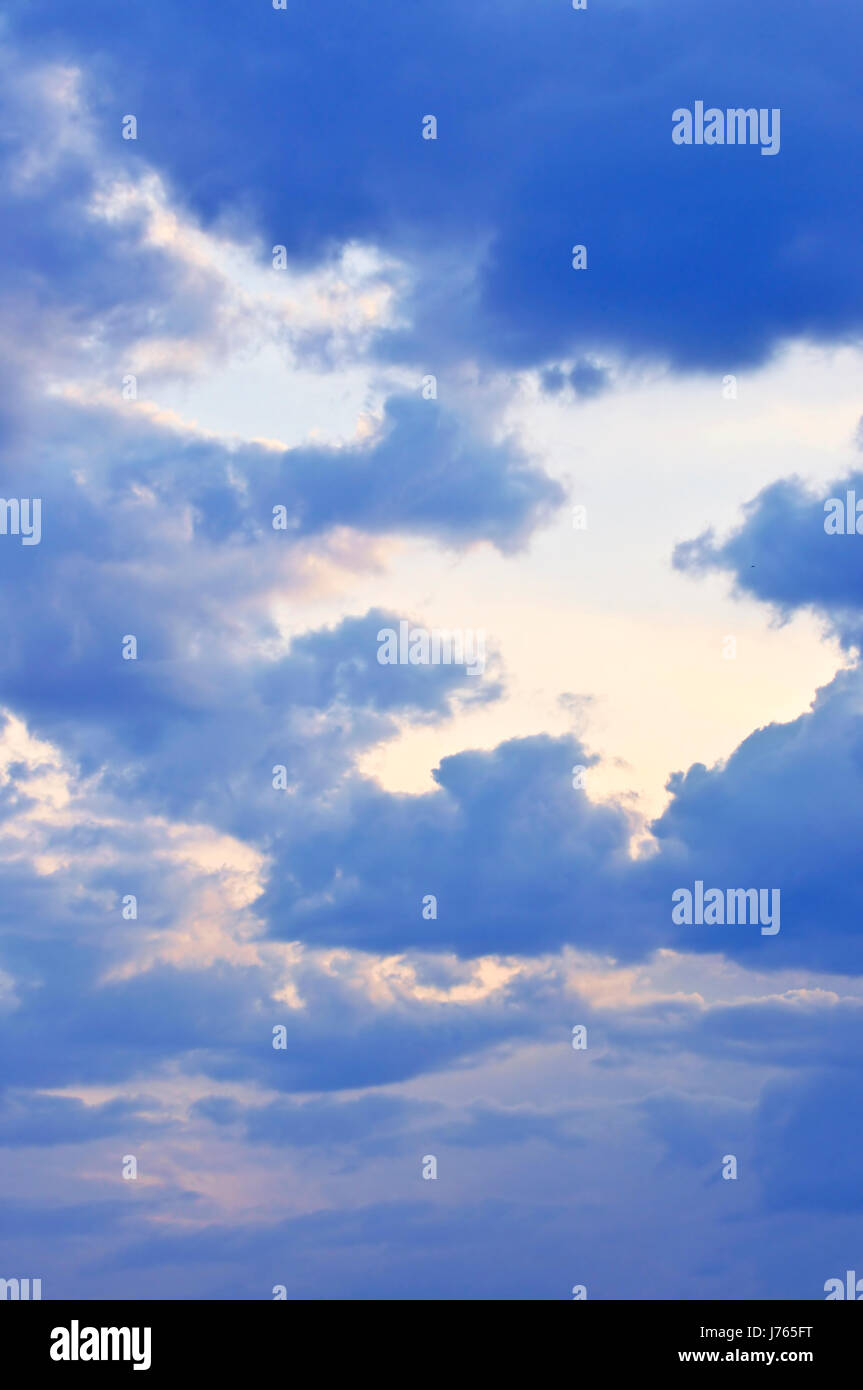 blue cloud atmosphere clouds firmament sky backdrop background formation - Stock Image
