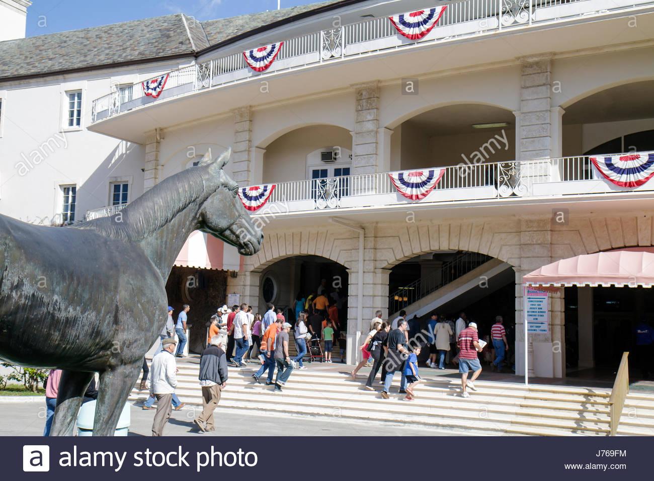 HialeahMiami Florida Hialeah Park quarter horse racing racetrack statue Citation Stock Photo