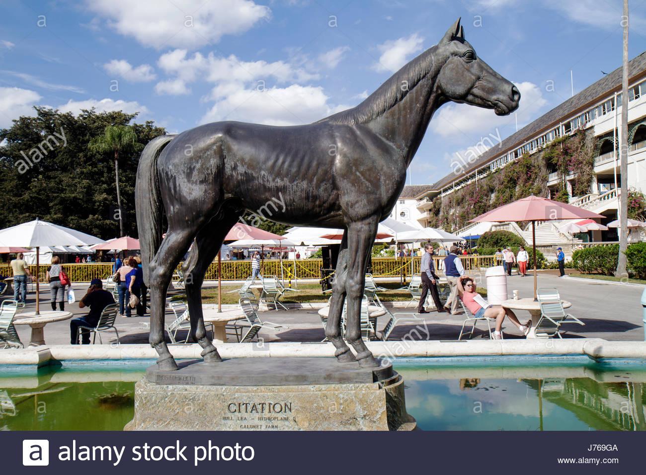 HialeahMiami Florida Hialeah Park quarter horse racing racetrack statue Citation - Stock Image